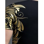 Slimming V-Neck Golden Totem Pattern Short Sleeves T-Shirt For Men for sale