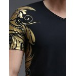 Slimming V-Neck Golden Totem Pattern Short Sleeves T-Shirt For Men deal