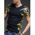 cheap Slimming V-Neck Golden Totem Pattern Short Sleeves T-Shirt For Men