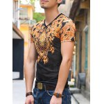 cheap National Style V-Neck Abstract Pattern Slimming Short Sleeves T-Shirt For Men