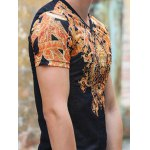 National Style V-Neck Abstract Pattern Slimming Short Sleeves T-Shirt For Men for sale