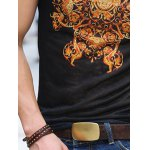 best National Style V-Neck Abstract Pattern Slimming Short Sleeves T-Shirt For Men