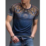 cheap Abstract Pattern Slimming Round Neck Short Sleeves T-Shirt For Men