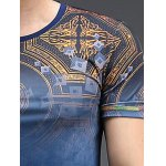 Abstract Pattern Slimming Round Neck Short Sleeves T-Shirt For Men for sale
