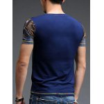 Abstract Pattern Slimming Round Neck Short Sleeves T-Shirt For Men deal