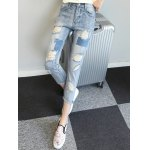 cheap Chic Back Pocket Ripped Denim Ninth Pants For Women