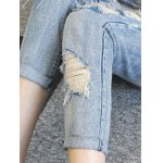Chic Back Pocket Ripped Denim Ninth Pants For Women photo