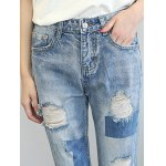 Chic Back Pocket Ripped Denim Ninth Pants For Women for sale