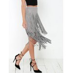 cheap Stylish High Waisted Faux Suede Tassels Women's Skirt