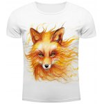 White Round Neck Cool Wolf Head Pattern Slimming Short Sleeves 3D T-Shirt For Men