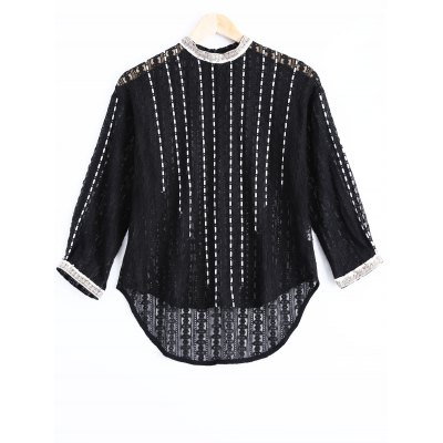 Elegant RoundNeck Openwork Lace Long Sleeves Blouse For Women