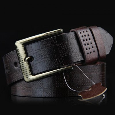 Stylish Pin Buckle Checked Pattern PU Wide Belt For Men