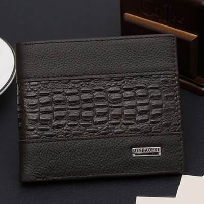Fashion Crocodile Print and Solid Color Design Wallet For Men