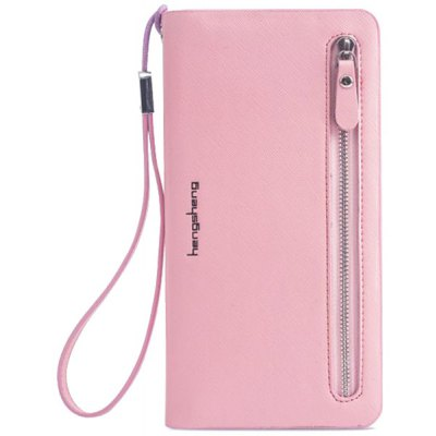 Ladylike Candy Color and Zip Design Clutch Wallet For Women