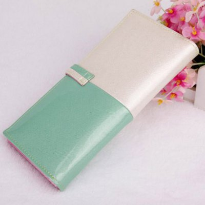 Sweet Color Block and Hasp Design Clutch Wallet For Women