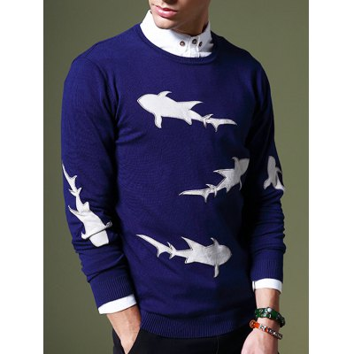 Laconic Round Neck 3D Shark Pattern Slimming Long Sleeves Sweater For MenMens Sweaters &amp; Cardigans<br>Laconic Round Neck 3D Shark Pattern Slimming Long Sleeves Sweater For Men<br><br>Type: Pullovers<br>Material: Cotton Blends<br>Sleeve Length: Full<br>Collar: Round Neck<br>Technics: Computer Knitted<br>Style: Fashion<br>Weight: 0.376kg<br>Package Contents: 1 x Sweater