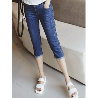 Casual Women's Bleach Wash Capri Jeans
