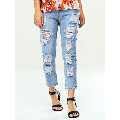 Trendy Women's Bleach Wash Ripped Jeans