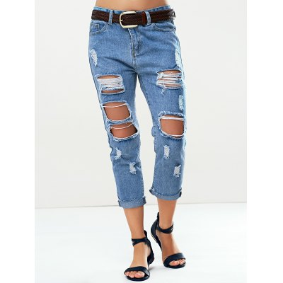 Trendy Women's Bleach Wash Roll Up Ripped Jeans