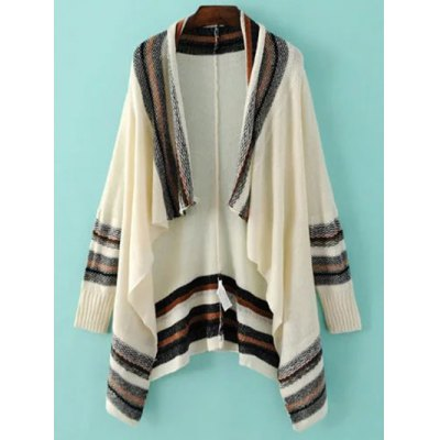 Fashion Long Sleeve Color Block Striped Cardigan For Women