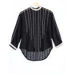 Elegant Round Neck Openwork Lace Long Sleeves Blouse For Women