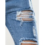 best Trendy Women's Bleach Wash Roll Up Ripped Jeans