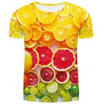 Fashion Round Neck Orange Pattern Fitted Short Sleeves 3D Printed T-Shirt For Men