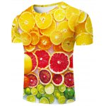 cheap Fashion Round Neck Orange Pattern Fitted Short Sleeves 3D Printed T-Shirt For Men