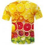 Fashion Round Neck Orange Pattern Fitted Short Sleeves 3D Printed T-Shirt For Men deal