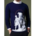 cheap Fashion Round Neck 3D Statue Pattern Slimming Long Sleeves Sweater For Men