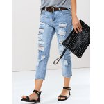 Trendy Women's Bleach Wash Distressed Jeans