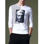 cheap Western Style Round Neck 3D Figure Plaid Printing Slimming Long Sleeves T-Shirt For Men