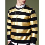 cheap Fashion Round Neck Color Block Stripes Pattern Slimming Long Sleeves Sweatshirt For Men