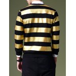 Fashion Round Neck Color Block Stripes Pattern Slimming Long Sleeves Sweatshirt For Men deal