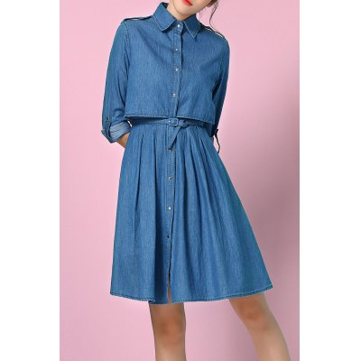 Denim High Waist Shirt Dress