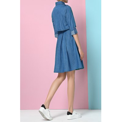High Waist Denim Shirt DressDesigner Dresses<br>High Waist Denim Shirt Dress<br><br>Style: Casual<br>Occasion: Causal,Day,Graduation Ceremony<br>Material: Cotton<br>Composition: 100% Cotton<br>Silhouette: A-Line<br>Dresses Length: Knee-Length<br>Neckline: Shirt Collar<br>Sleeve Length: Long Sleeves<br>Waist: Empire<br>Embellishment: Pleated<br>Pattern Type: Solid<br>With Belt: No<br>Season: Summer<br>Weight: 0.390kg<br>Package Contents: 1 x Dress