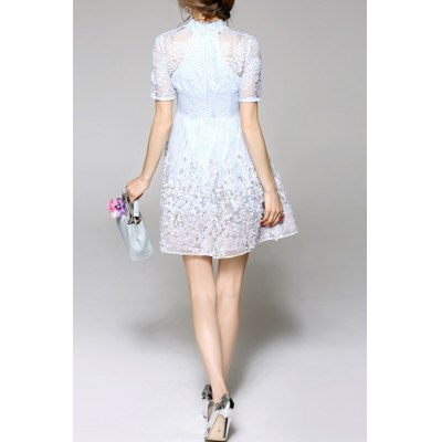Cut Out Embroidered Gauze Dress