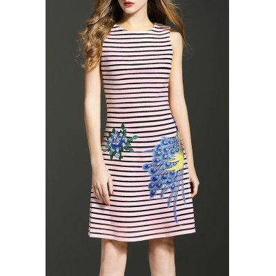 Striped Peacock Embroidered Dress