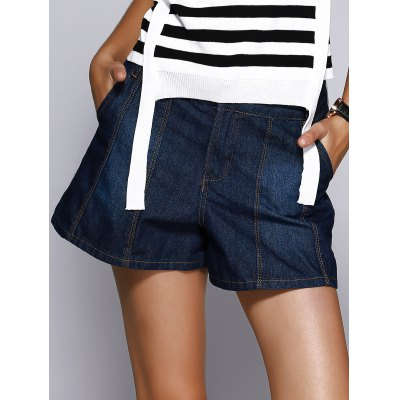 Deep Color Denim Flare Shorts