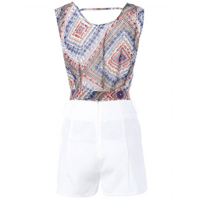 Geometric Print Tie Front Sleeveless Blouse + White Shorts Twinset For Women