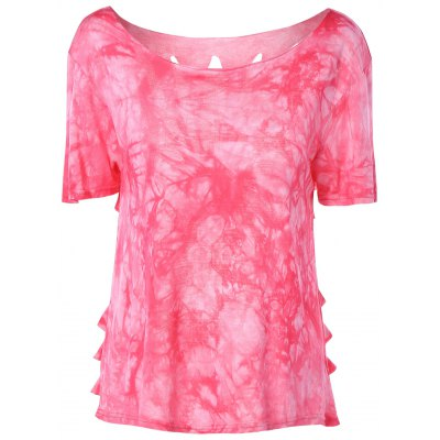 Round Neck Tie-Dyed Short Sleeves Top For Women