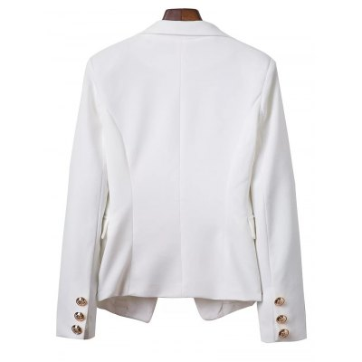 OL Lapel Collar Long Sleeve Buttons Solid Color Blazer For Women