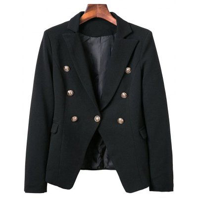 Lapel Collar Long Sleeve Buttons Solid Color Blazer
