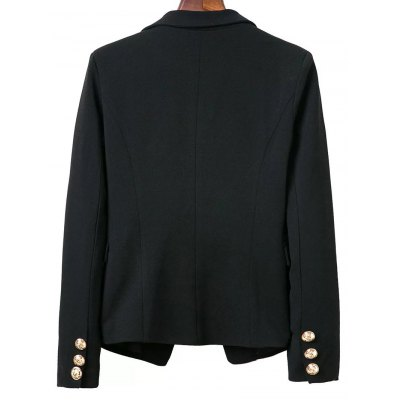 OL Lapel Collar Buttons Long Sleeve Solid Color Blazer For Women