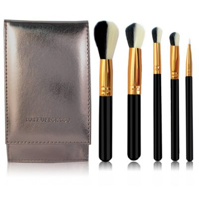5 Pcs Artificial Fiber Face Eye Makeup Brushes Set with Brush Package