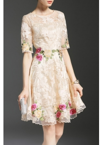 Floral Embroidered Mesh Splicing Dress