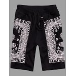 Elastic Straight Leg Abstract Printed Shorts For Men