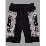cheap Elastic Straight Leg Abstract Printed Shorts For Men