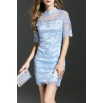 Sheer Beaded Mesh Splicing Dress
