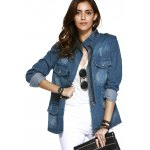 Fashionable Funnel Collar Pockets Decorated Wash Denim Coat For Women deal